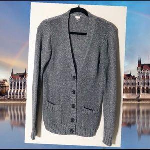 J Crew Silver gray cardigan lurex sweater size S